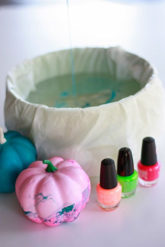 How to Decorate Pumpkins With Nail Polish