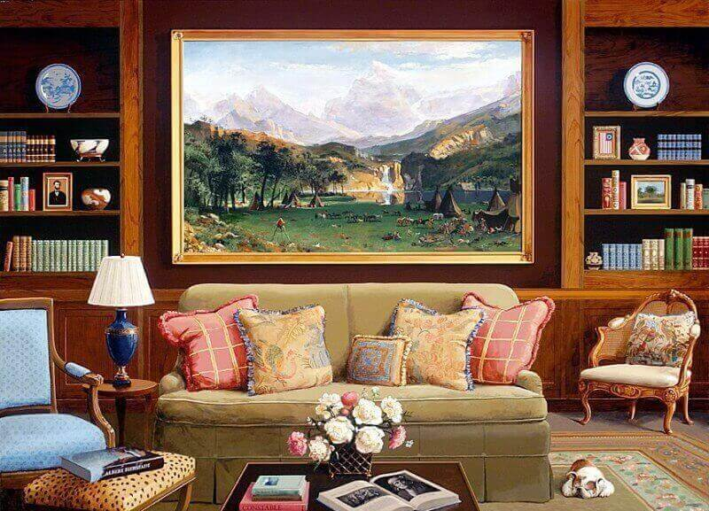 Oil painting in a modern interior